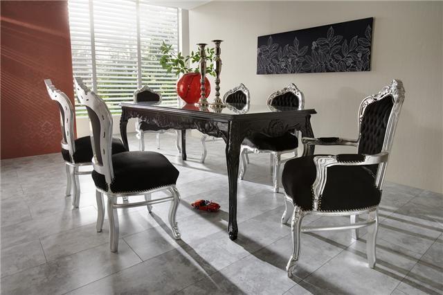 casa padrino barock esszimmer set schwarz silber esstisch 6 st hle esszimmer sets. Black Bedroom Furniture Sets. Home Design Ideas