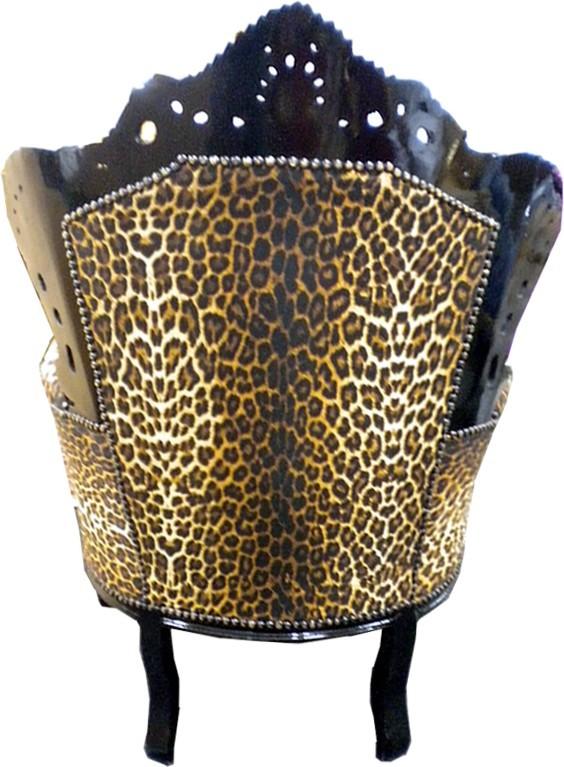 """Barock Sessel """"King"""" Leopard Schwarz Sessel Modell """"King"""""""