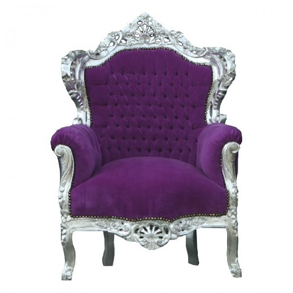 casa padrino barock sessel king lila silber sessel. Black Bedroom Furniture Sets. Home Design Ideas