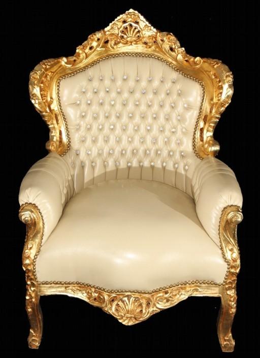 casa padrino barock sessel king creme gold lederoptik bling bling sessel modell king. Black Bedroom Furniture Sets. Home Design Ideas
