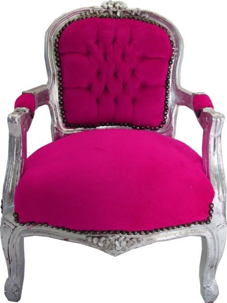 casa padrino barock kinder stuhl pink silber armlehnstuhl casa padrino farbwelten pink silber. Black Bedroom Furniture Sets. Home Design Ideas