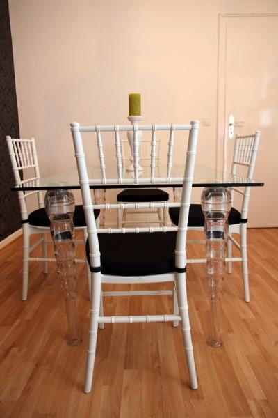 designer acryl esszimmer set wei schwarz ghost chair table polycarbonat m bel 1 tisch 4. Black Bedroom Furniture Sets. Home Design Ideas