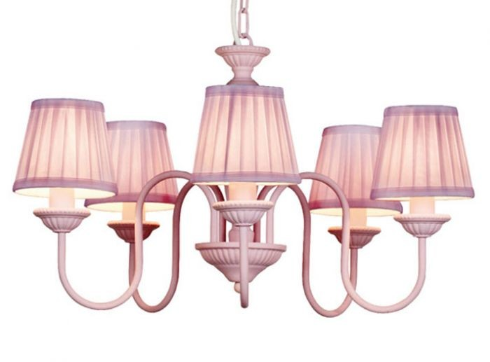 barock pendelleuchte mit plissee schirm 5 flammig rosa. Black Bedroom Furniture Sets. Home Design Ideas