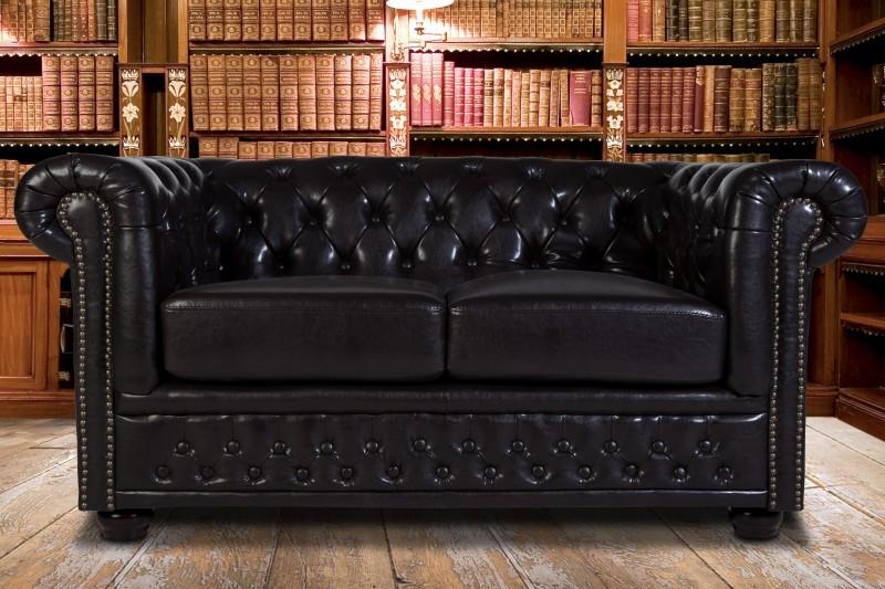 wohnzimmer chesterfield:Casa Padrino Chesterfield 2er Sofa Dunkelbraun – Wohnzimmer Couch