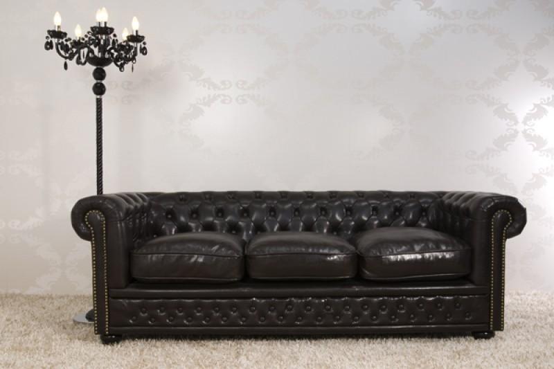 chesterfield 3er sofa dunkelbraun aus dem hause casa padrino couch braun sofas. Black Bedroom Furniture Sets. Home Design Ideas