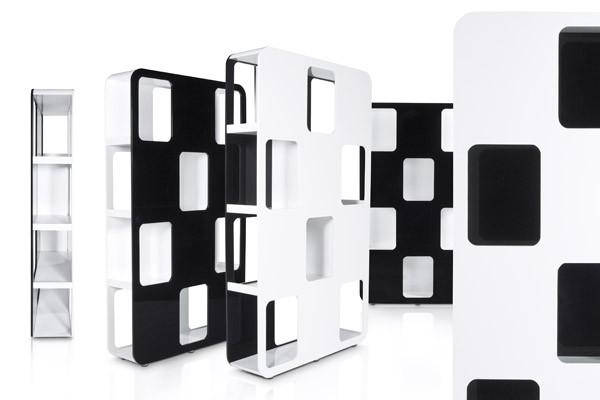 Designer Bücherregal aus lackiertem Holz Weiß/Schwarz Hochglanz ...