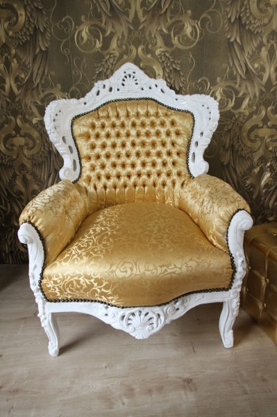 barock sessel king gold muster weiss m bel antik stil sessel modell king. Black Bedroom Furniture Sets. Home Design Ideas