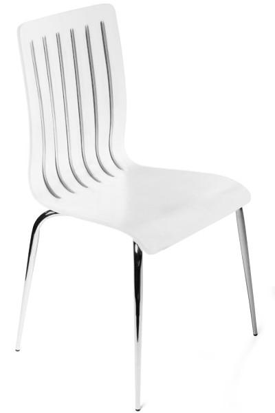 designer stuhl aus holz und verchromtem stahl wei esszimmerstuhl moderner wohnzimmerstuhl. Black Bedroom Furniture Sets. Home Design Ideas