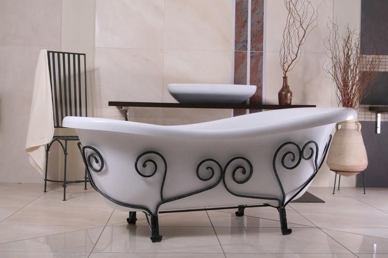 freistehende luxus badewanne jugendstil mediterran wei. Black Bedroom Furniture Sets. Home Design Ideas