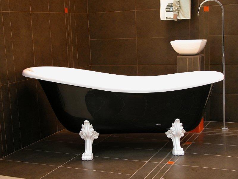 freistehende luxus badewanne jugendstil roma schwarz wei wei 1470mm barock antik badezimmer. Black Bedroom Furniture Sets. Home Design Ideas