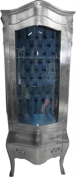 casa padrino barock vitrine silber mit azzurfarbenen. Black Bedroom Furniture Sets. Home Design Ideas