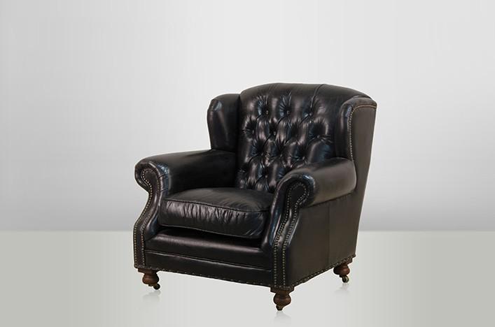 Chesterfield luxus echt leder ohrensessel adringley for Ohrensessel leder schwarz