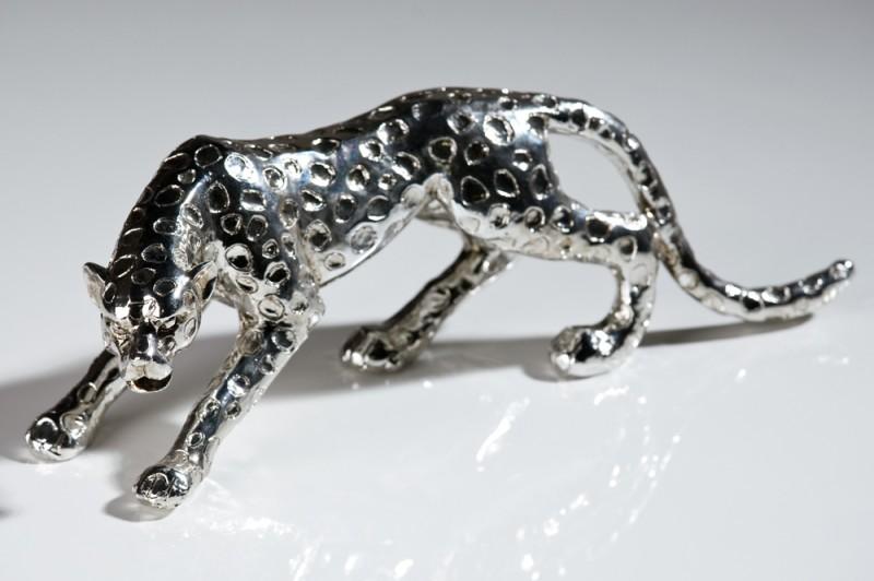 casa padrino designer gepard aus polyresin antik silber