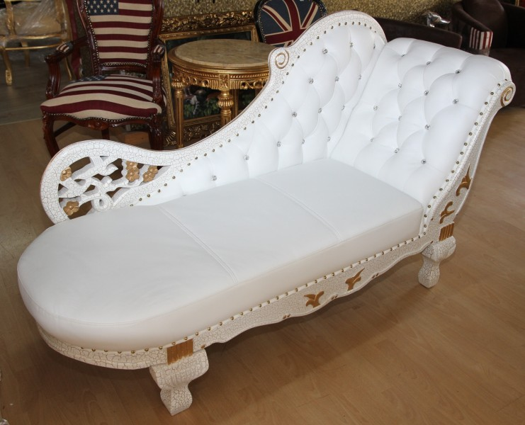 Baroque chaise white gold real leather chaise lonque for Casa chaise longue