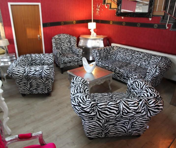 zebra wohnzimmer: Wohnzimmer Garnitur – Sofa + 3 Sessel Zebra – Luxus Barock Möbel