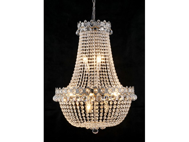 Barock kronleuchter vernickelt mit glaskristallen l nge 80 for Kronleuchter barock