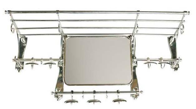 franz sische luxus wandgarderobe mit spiegel silber edelstahl garderoben halter mod paris. Black Bedroom Furniture Sets. Home Design Ideas