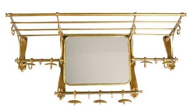 franz sische luxus wandgarderobe mit spiegel messingfarben. Black Bedroom Furniture Sets. Home Design Ideas