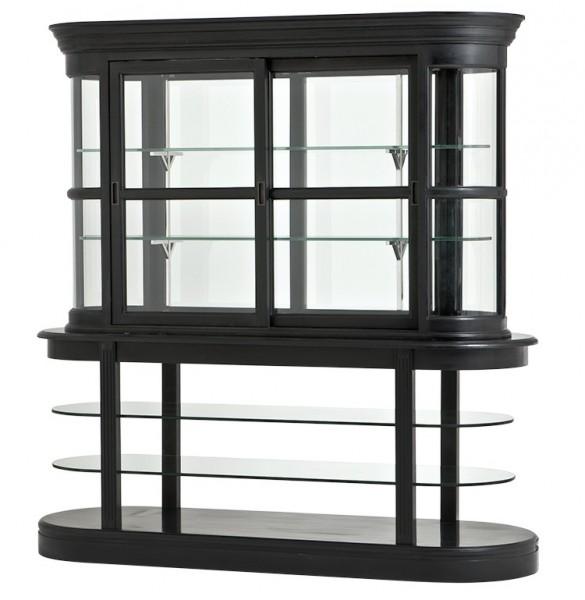 luxus wohnzimmer schränke:Luxus Glas Vitrinen Schrank Schwarz Massivholz Birmingham Wohnzimmer
