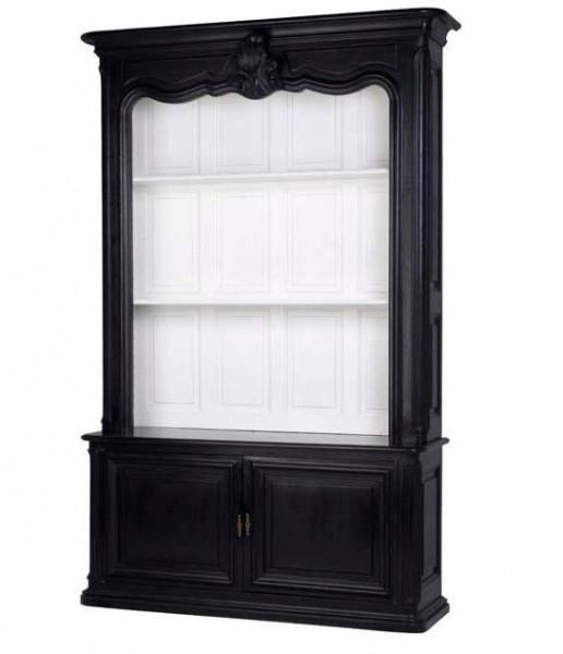 casa padrino luxus b cher schrank schwarz massivholz. Black Bedroom Furniture Sets. Home Design Ideas