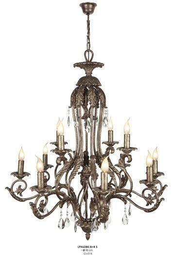 Casa padrino luxus barock kronleuchter mit echten glaskristallen silber antik look 12 flammiger - Kronleuchter barock ...