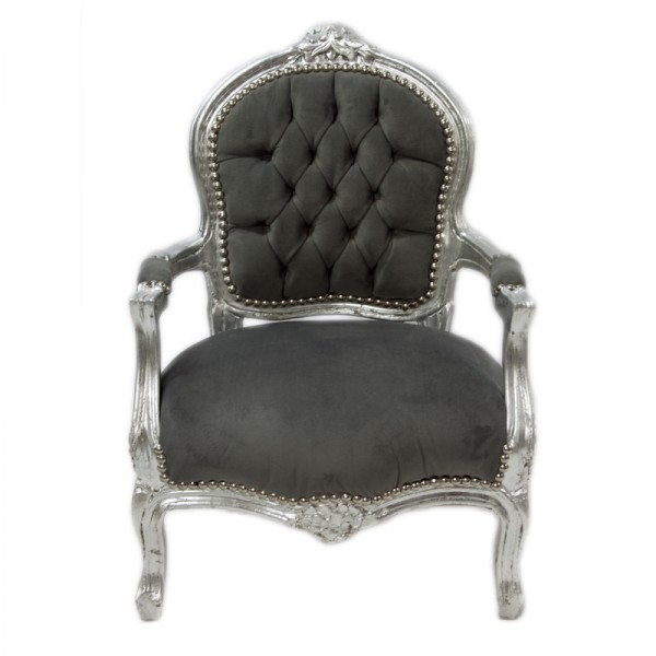Casa padrino baroque kids chair grey silver children 39 s for Grey childrens chair