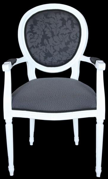 casa padrino barock esszimmer stuhl mit armlehne grau. Black Bedroom Furniture Sets. Home Design Ideas