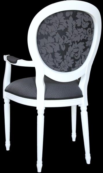 Casa Padrino Barock Esszimmer Stuhl mit Armlehne Grau / Wei Designer ...