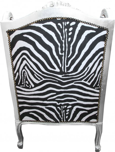 Casa padrino barock lounge thron sessel zebra silber for Stuhl zebra design