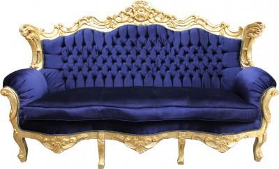 Casa Padrino Barock Wohnzimmer Set Royal Blau /Gold - 3er Sofa+2er ...