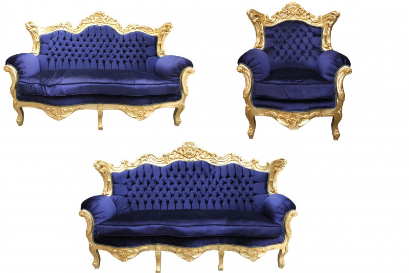 casa padrino baroque living room set royal blue gold 3. Black Bedroom Furniture Sets. Home Design Ideas