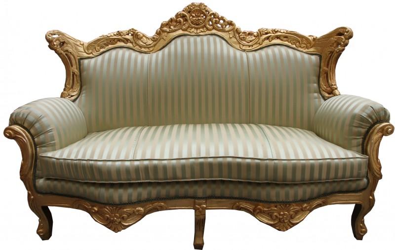 Casa Padrino Barock Wohnzimmer Set Jadegrün/ Gold - 3er Sofa+2er ...