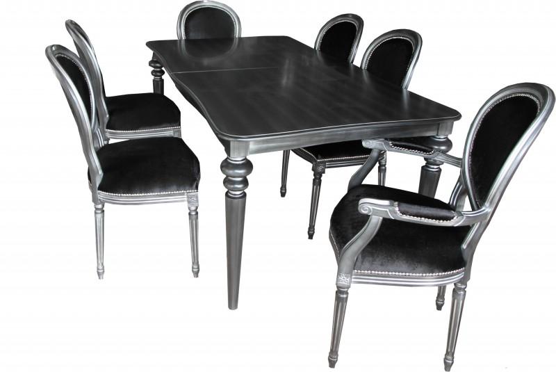 Casa Padrino design dining room set black / silver - Extendable dining ...