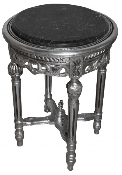 Baroque Side Table Silver Round ModY15 53 x 38 cm antique styleBaroque Round Table