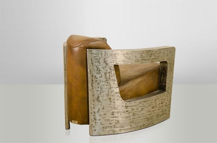 Art deco leather armchair mars leather beige vintage silver club chairs lounge chair real - Deco lounge grijs en beige ...