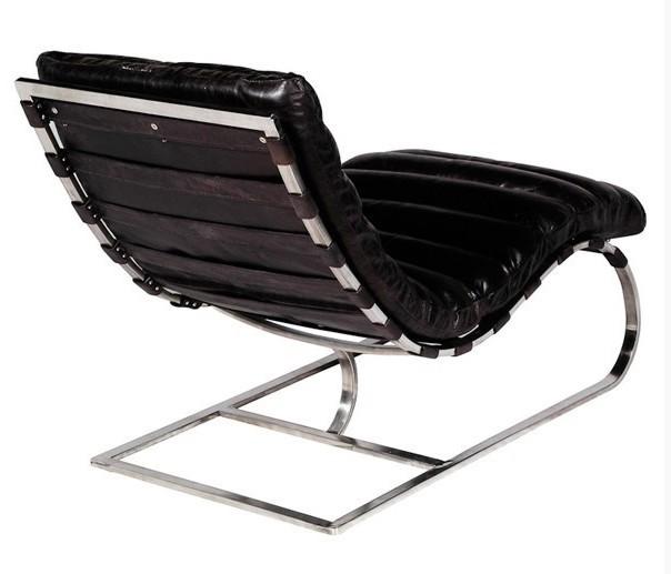 Lounge Sessel Echt Leder Schwarz ~  Sessel Schwarz  Leder Sessel Art Deco Lounge Relax Sessel Echt Leder