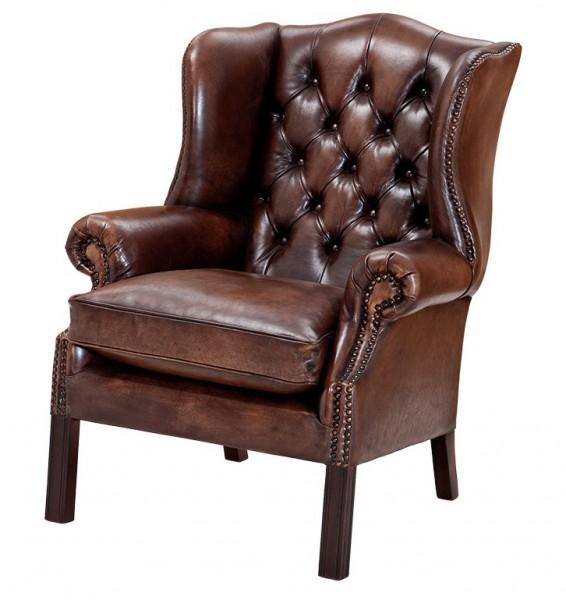 luxus echtleder ohrensessel chesterfield vintage dunkelbraun sessel mit echtem leder echt. Black Bedroom Furniture Sets. Home Design Ideas