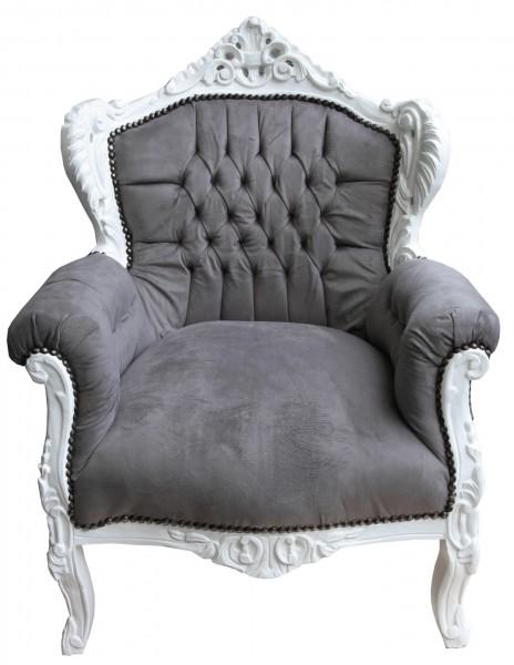 casa padrino barock sessel lord grau wei antik stil sessel modell lord. Black Bedroom Furniture Sets. Home Design Ideas